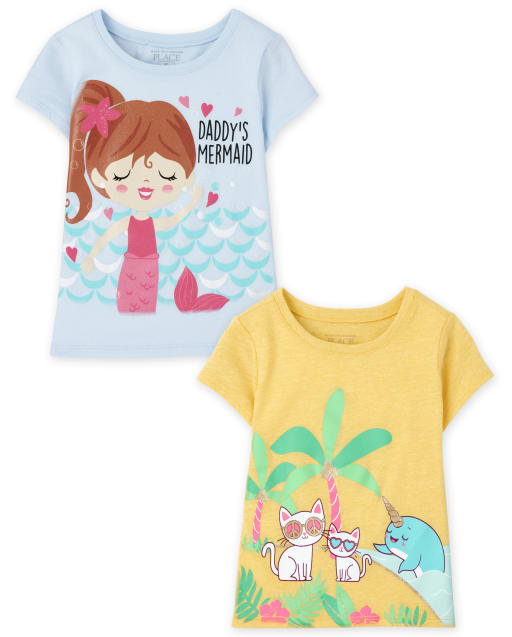 Baby And Toddler Girls Short Sleeve Animals And Mermaid Graphic Tee 2-Pack