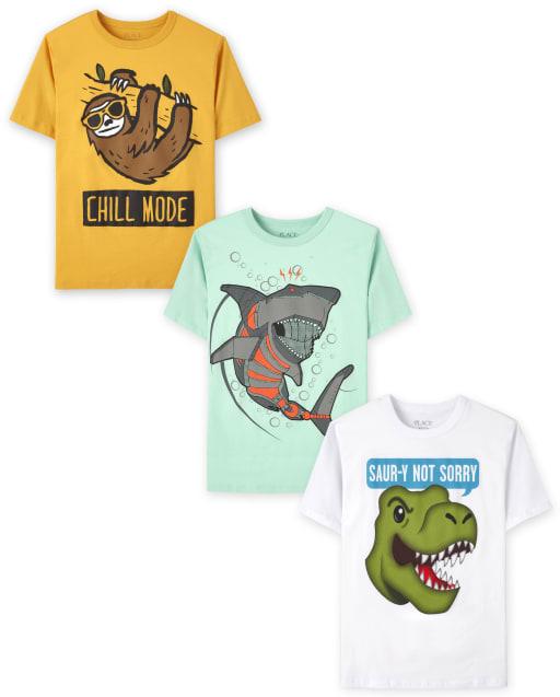 Pack de 3 camisetas con estampado de animales para niños