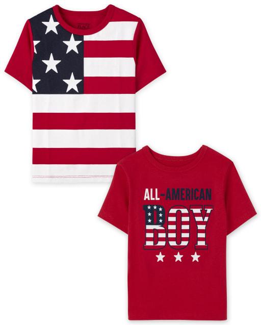 Pack de 2 camisetas estampadas americanas de manga corta para bebés y niños pequeños
