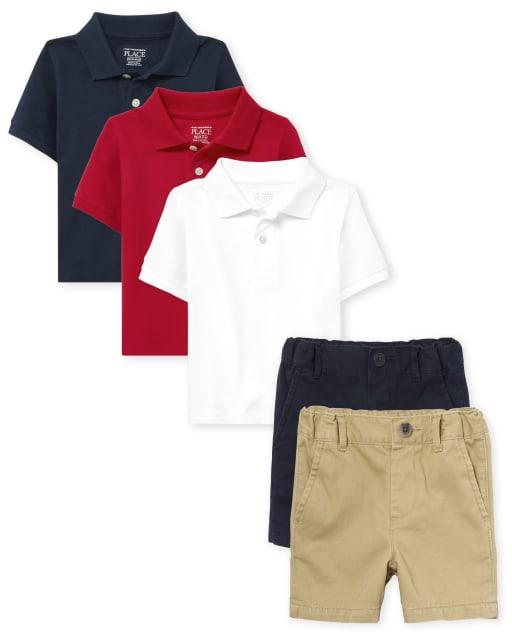 Conjunto de 5 piezas de polo de uniforme para bebés y niños pequeños