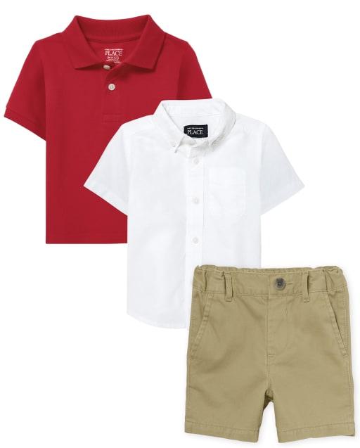 Conjunto de 3 piezas de polo de uniforme para bebés y niños pequeños