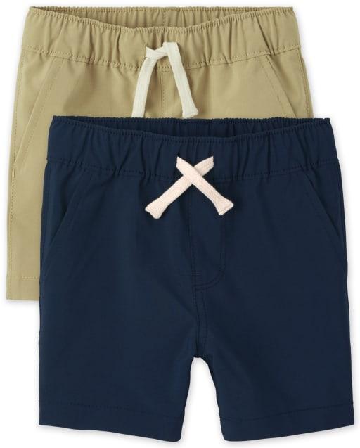 Paquete de 2 pantalones cortos tipo jogging tejidos de secado rápido para bebés y niños pequeños