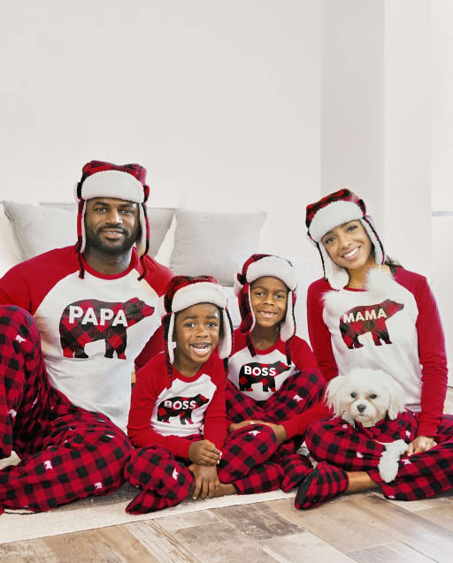 Matching Family Pajamas - Bear Buffalo Plaid Collection