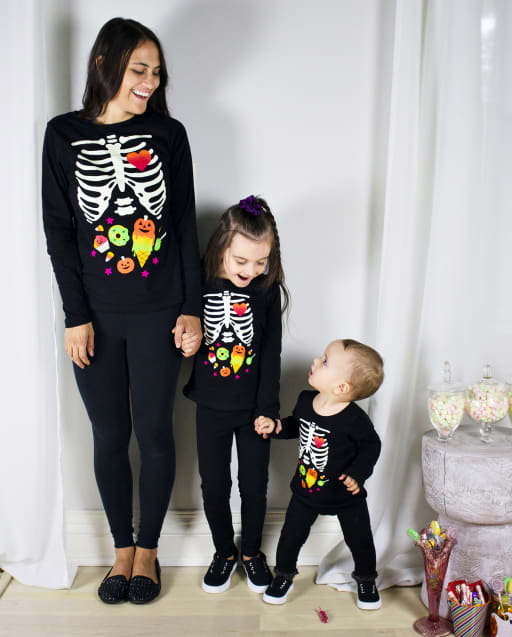 Mommy And Me Graphic Tees - Glow Candy Skeleton Collection