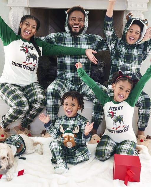 Matching Family Pajamas - Moose Plaid Collection