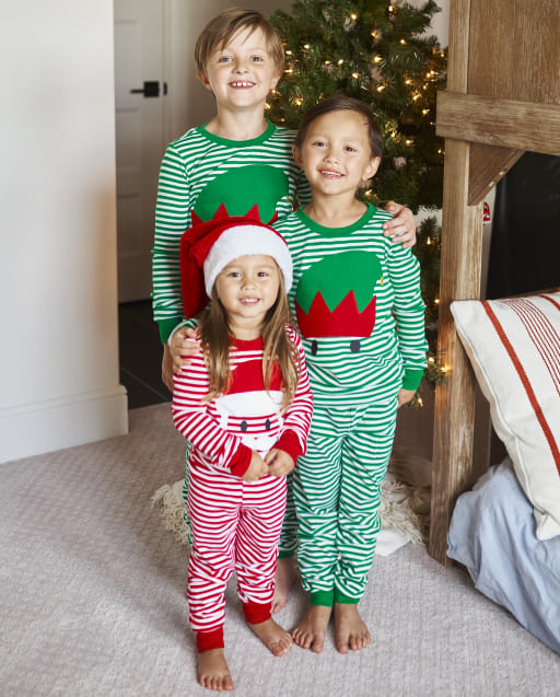 Matching Family Pajamas - Santa and Elf Striped Collection