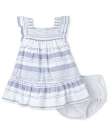 The Childrens Place Baby Girls Short Sleeve Printed Formal Bloomer Dress Set