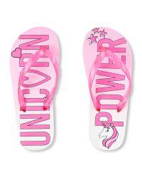 Girls 'Unicorn Power' Flip Flops