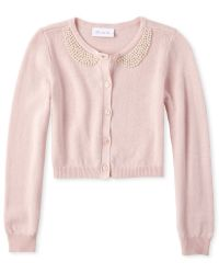 The Childrens Place Girls Faux Pearl Cardigan