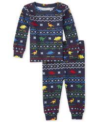 The Childrens Place Big Boys 2 Piece Dinosaur Cotton Pajamas