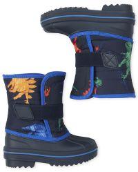 Carcassi Childrens Kids Boys Blue Dinosaur Wellies Wellington Rain Snow Boots Size 8-2