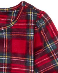 The Childrens Place Girls Baby and Toddler Mommy and Me Plaid Velour Matching One Piece Pajamas