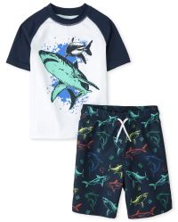 The Childrens Place Boys Shark Rashguard