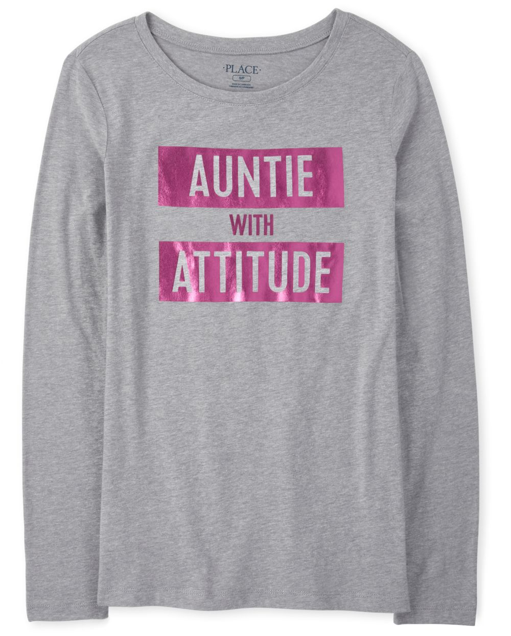 Womens Matching Family Foil Auntie Graphic Tee - Gray T-Shirt