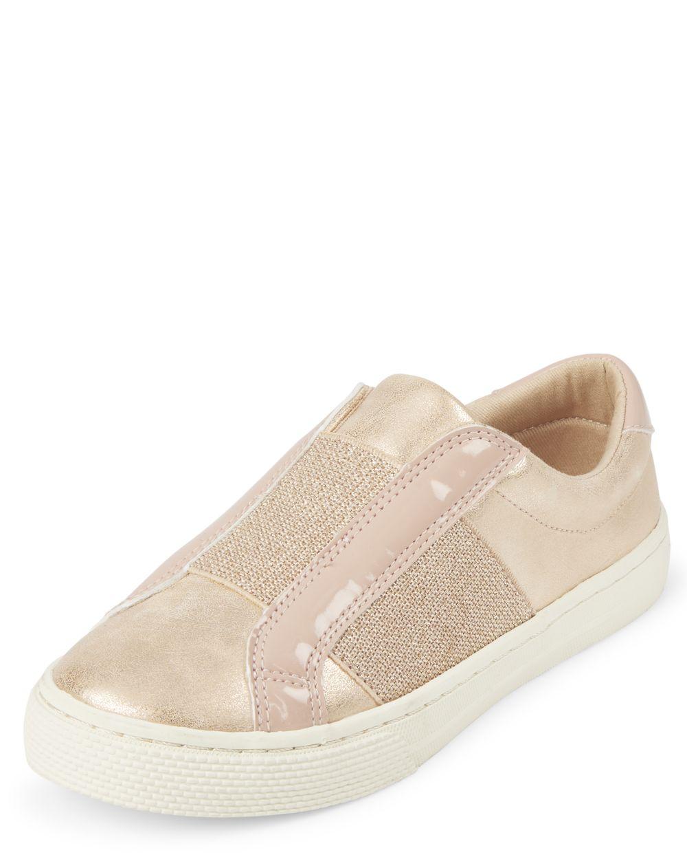 Glitter Metallic Slip On Sneakers - Pink
