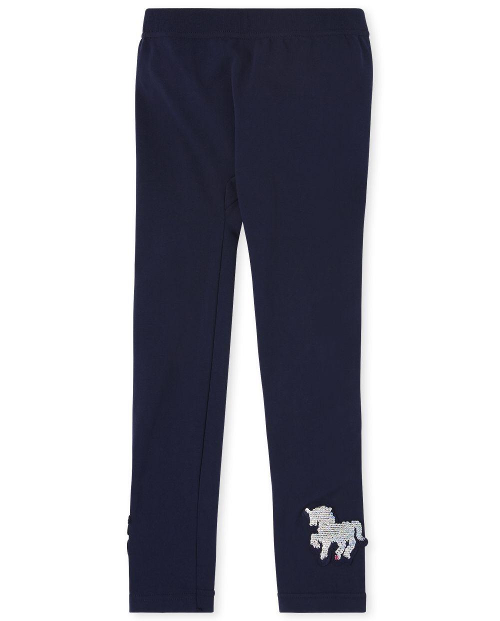Girls Flip Sequin Unicorn Fleece Lined Leggings - Blue