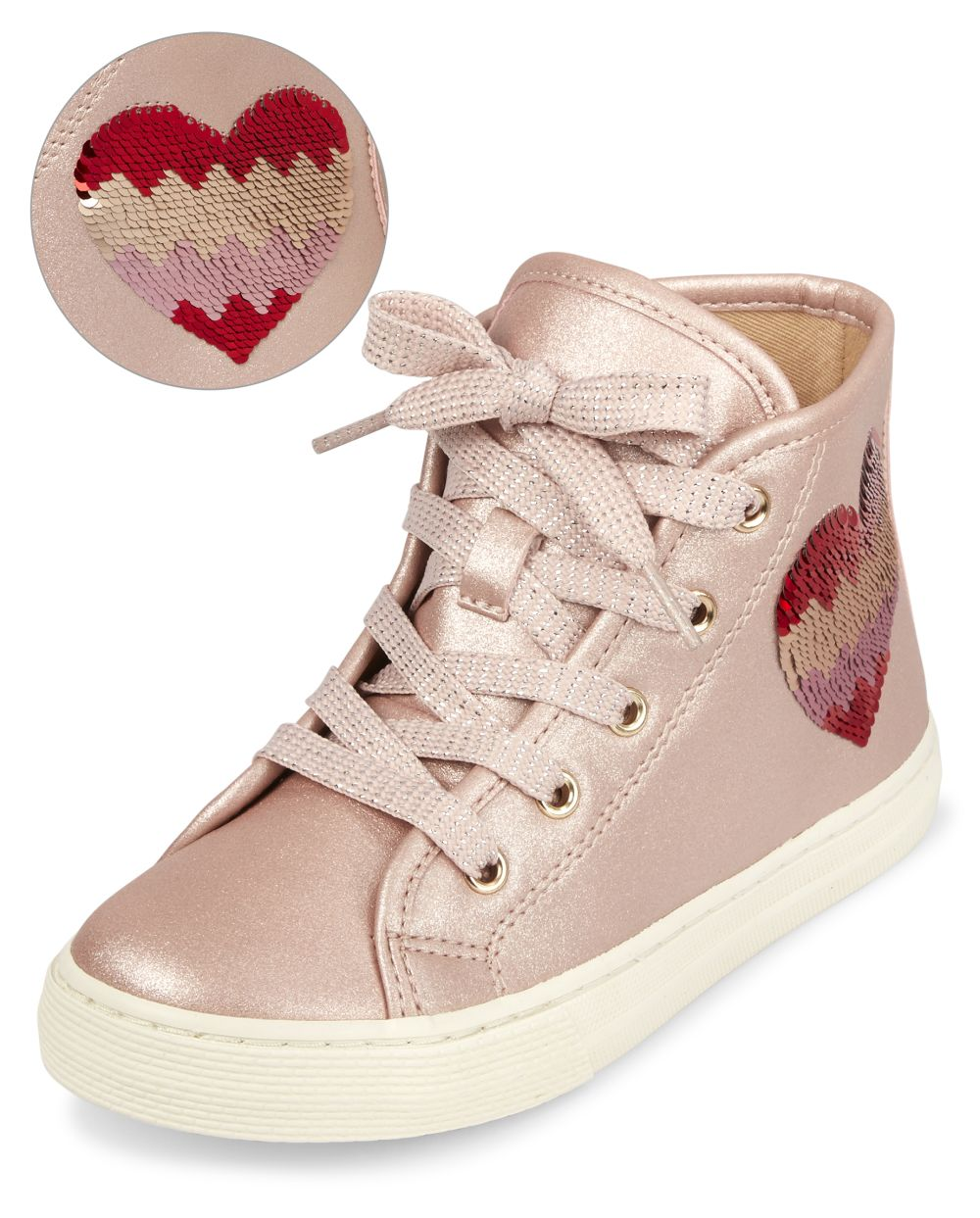 Flip Sequin Heart Hi Top Sneakers - Pink