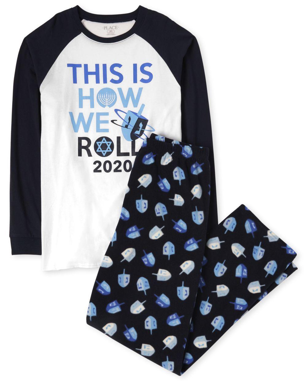 Unisex Adult Matching Family Hanukkah Festival Cotton And Fleece Pajamas - Blue
