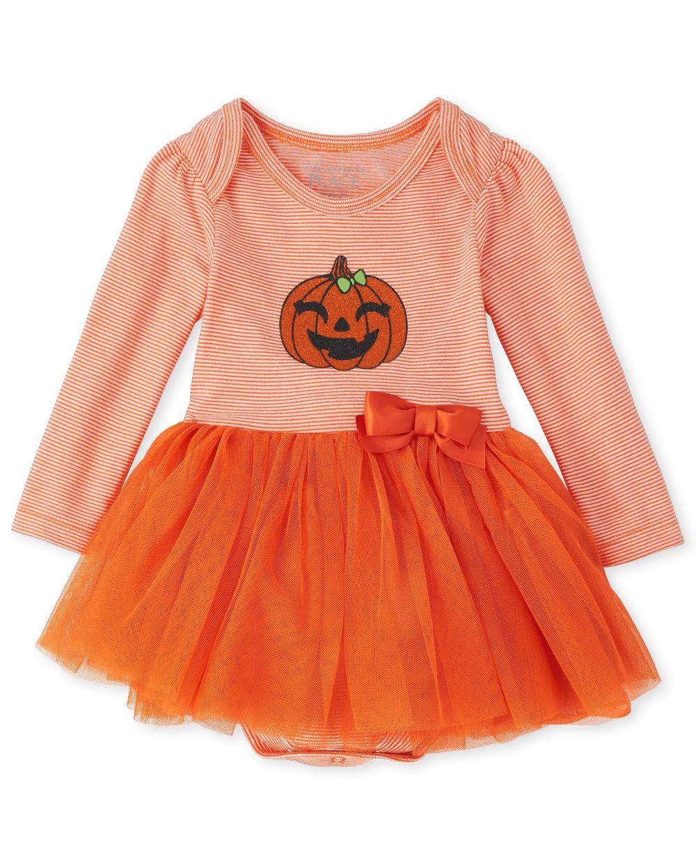 Newborn Baby Halloween Pumpkin Tutu Bodysuit Dress - Orange