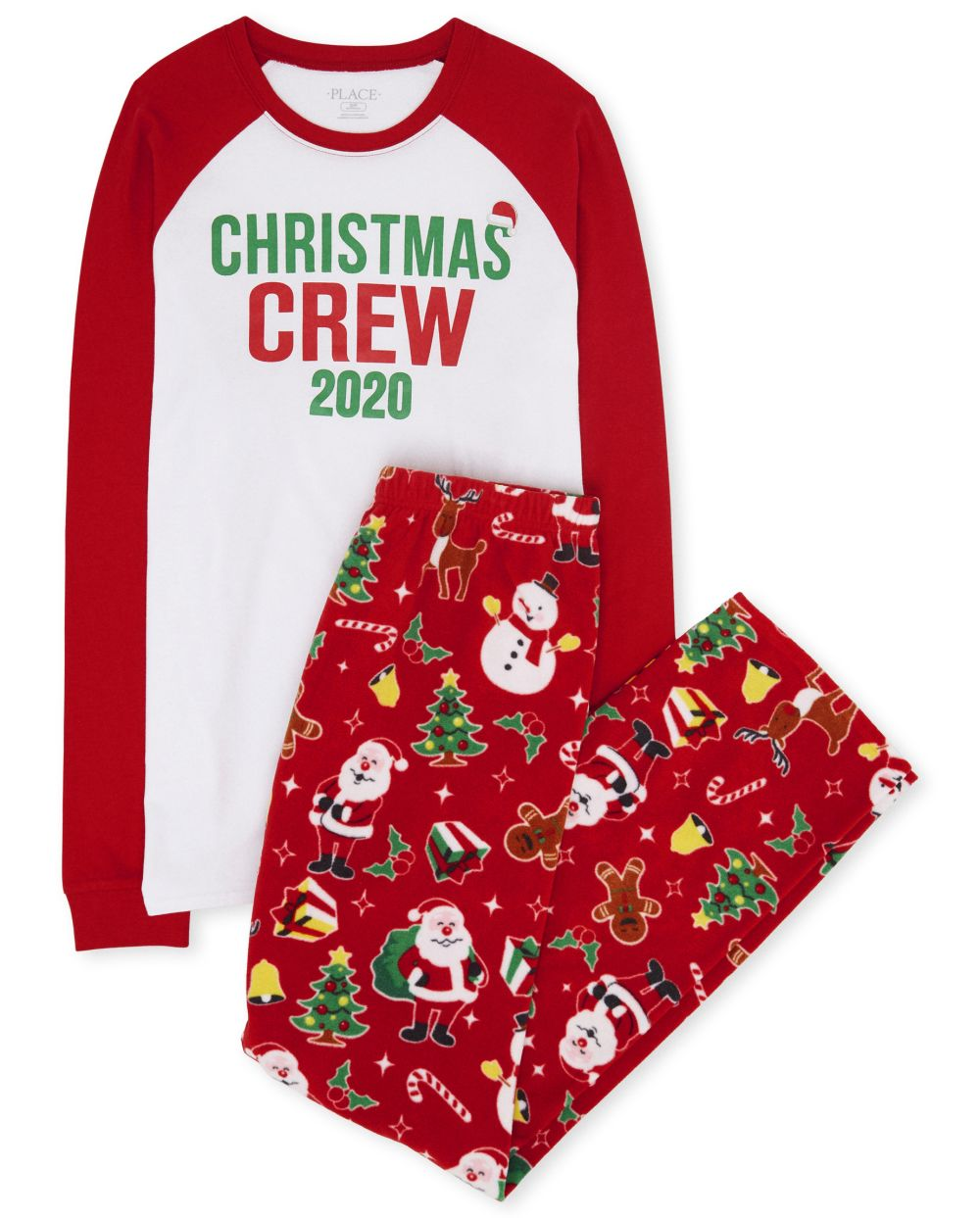Unisex Adult Matching Family Christmas Crew Cotton And Fleece Pajamas - Red - The Children' Place