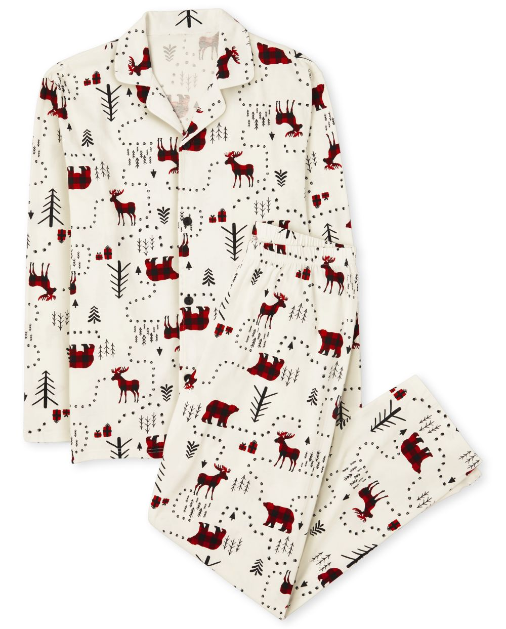 Unisex Adult Matching Family Winter Forest Cotton Pajamas - White - The Children' Place