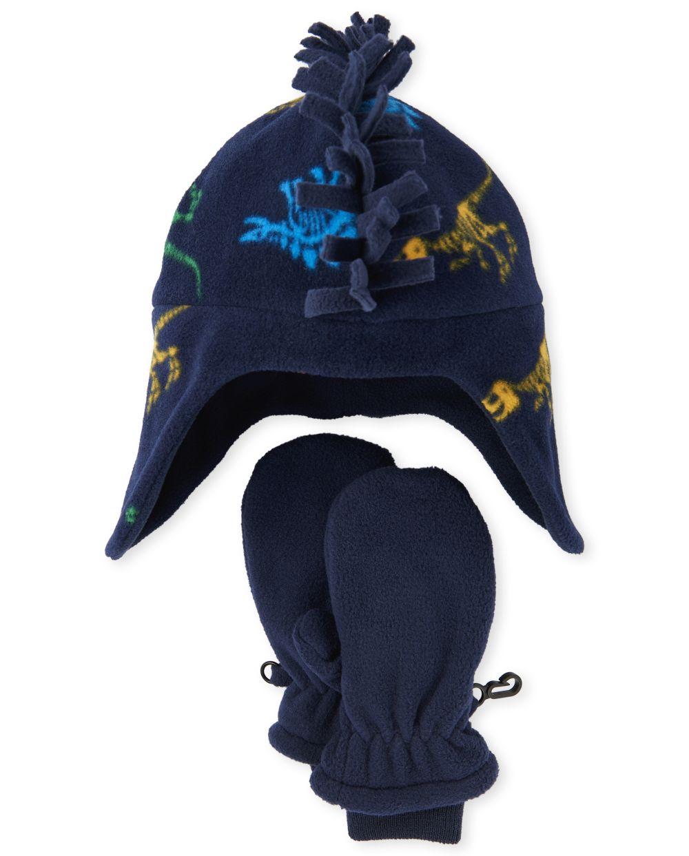 Toddler Boys Dino Glacier Fleece Hat And Mittens Set - Blue