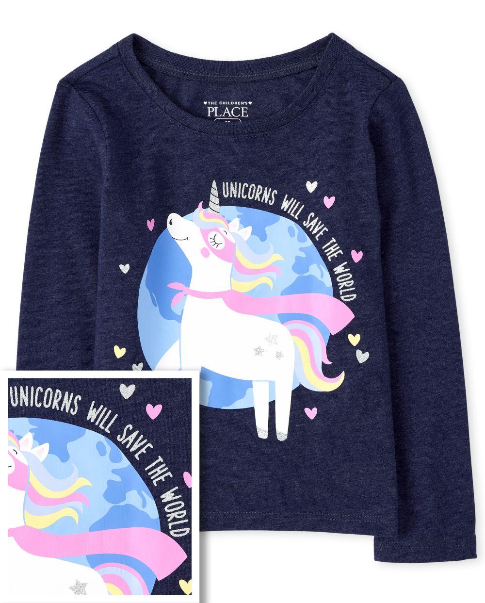 Baby And Toddler Unicorn Super Hero Graphic Tee - Blue T-Shirt