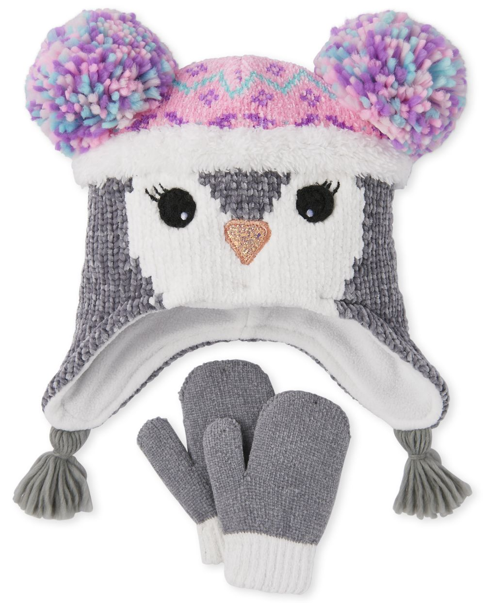 Toddler Penguin Hat And Mittens Set - Multi