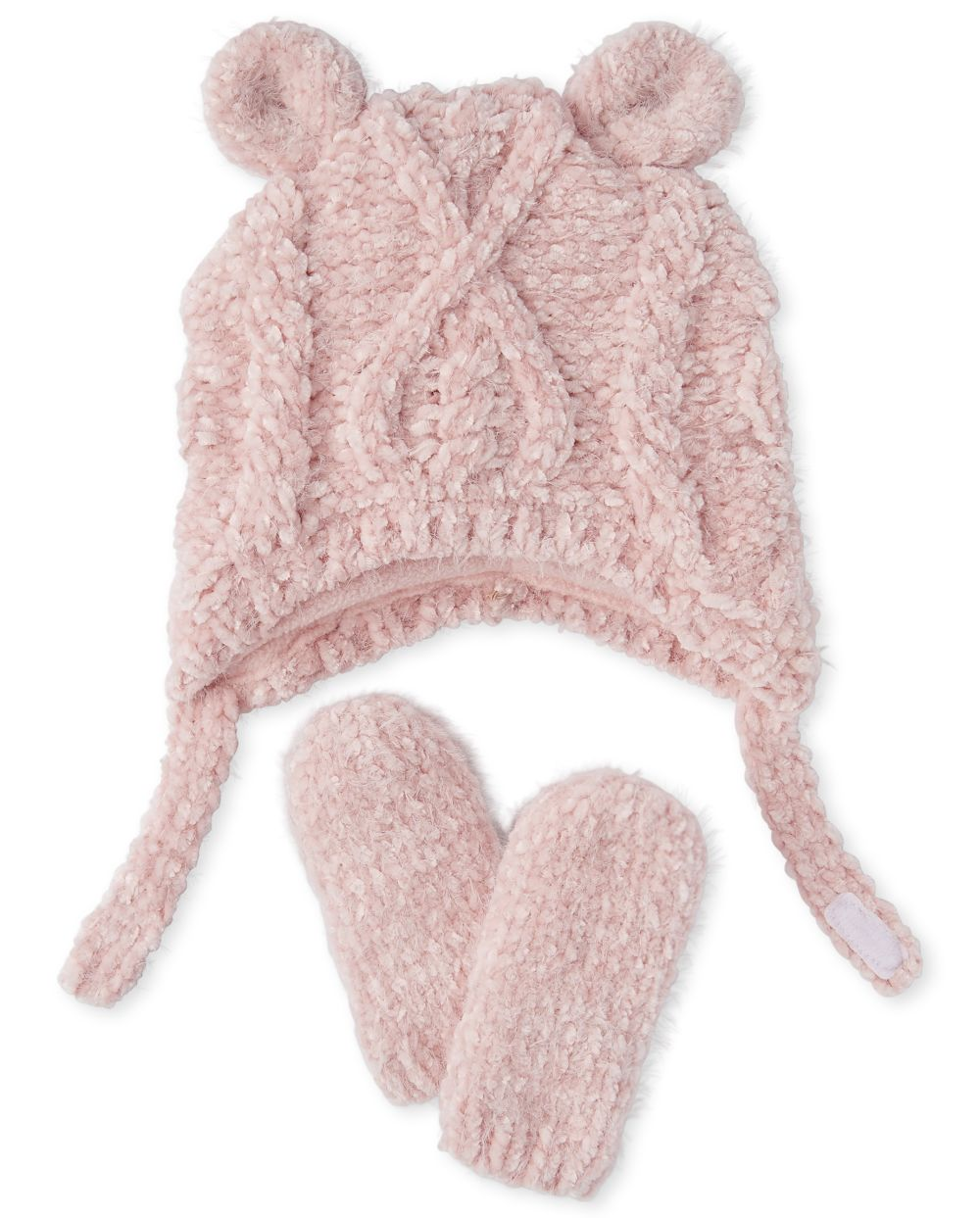Newborn Baby Cable Knit Chenille Hat And Mittens Set - Pink
