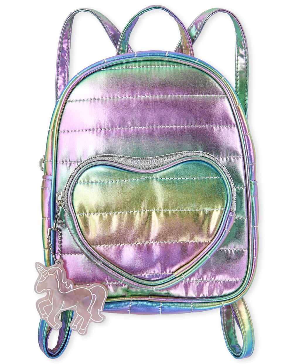 Girls Metallic Quilted Heart Mini Backpack - Multi