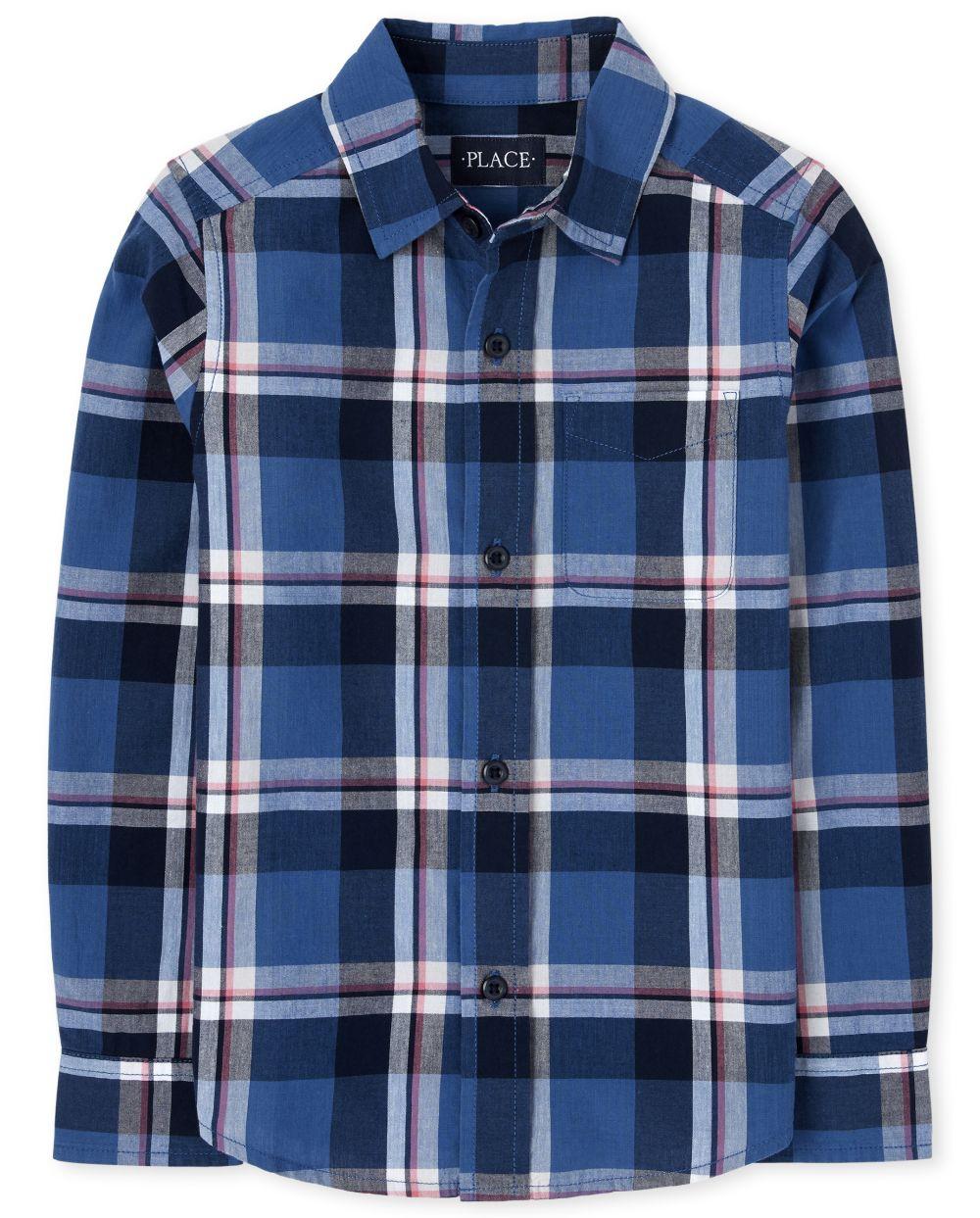 Boys Plaid Poplin Button Down Shirt - Blue
