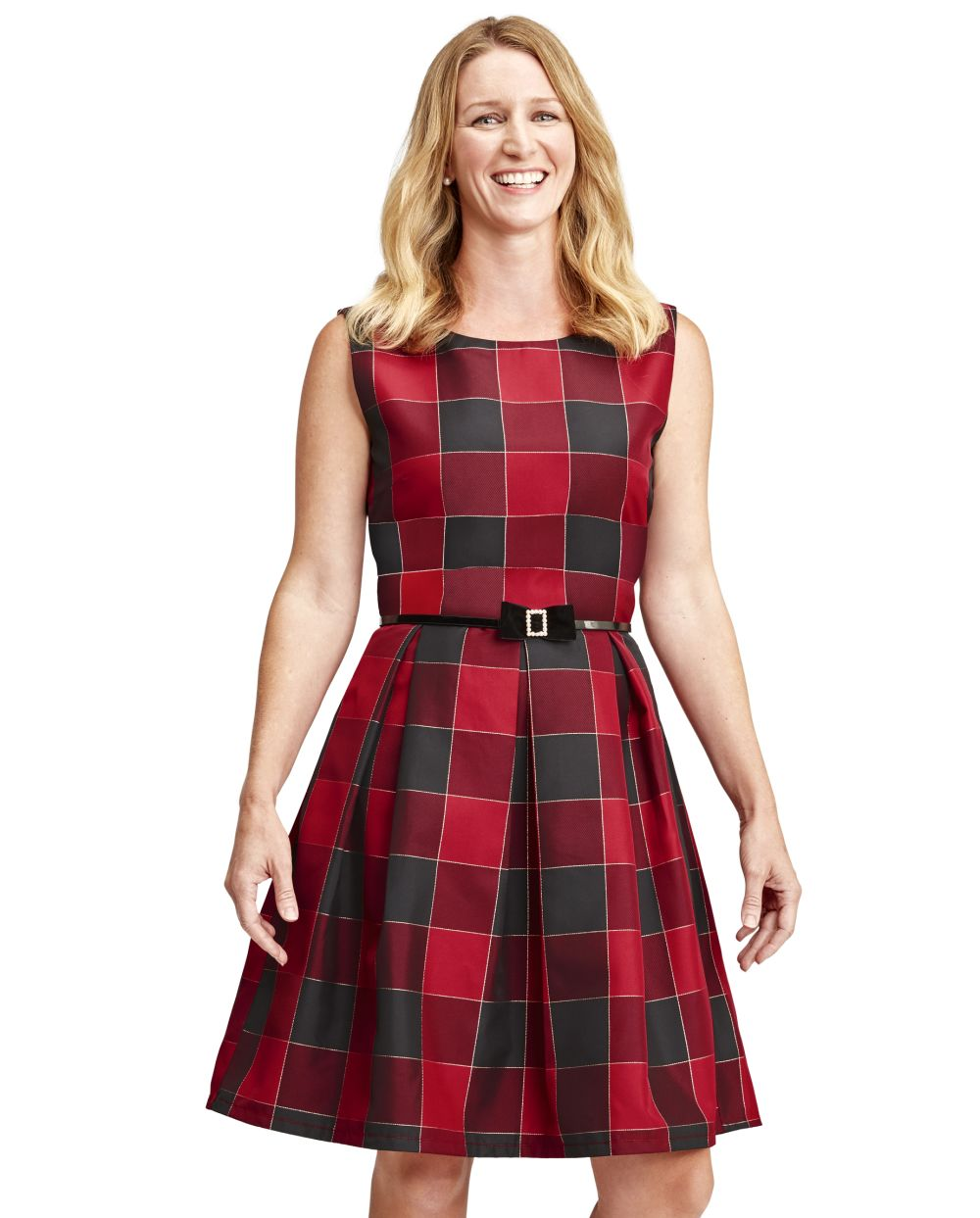 s Womens Mommy And Me Buffalo Plaid Matching Fit And Flare Dress - Red - The Children's Place