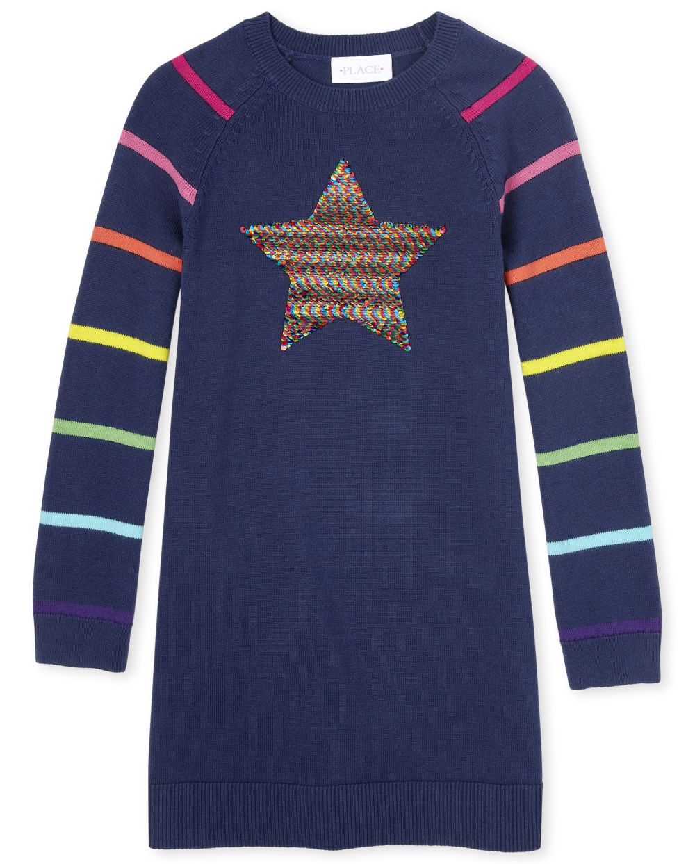 Girls Flip Sequin Rainbow Star Sweater Dress - Blue