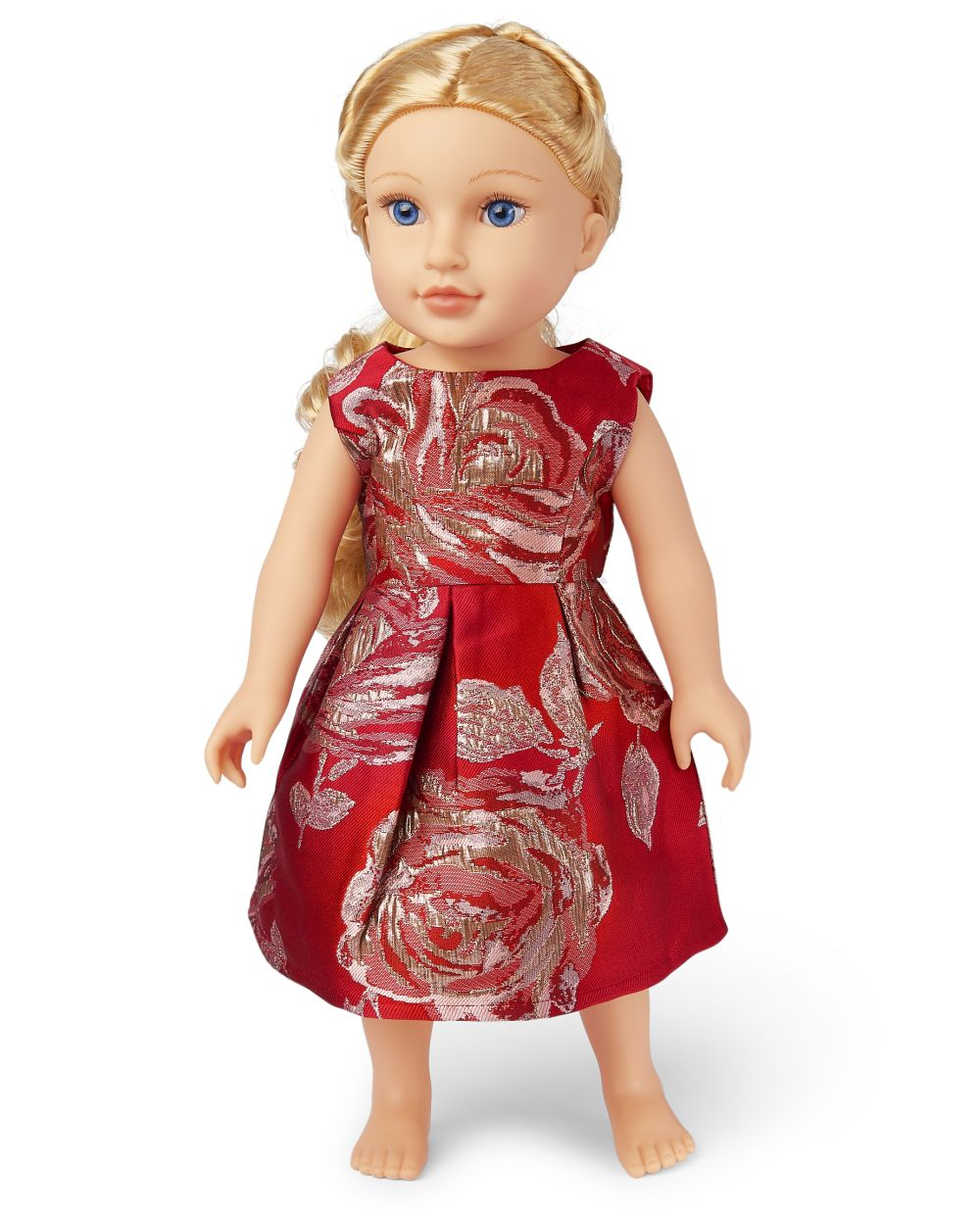 s Doll Mommy And Me Metallic Rose Jacquard Matching Dress - Red - The Children's Place