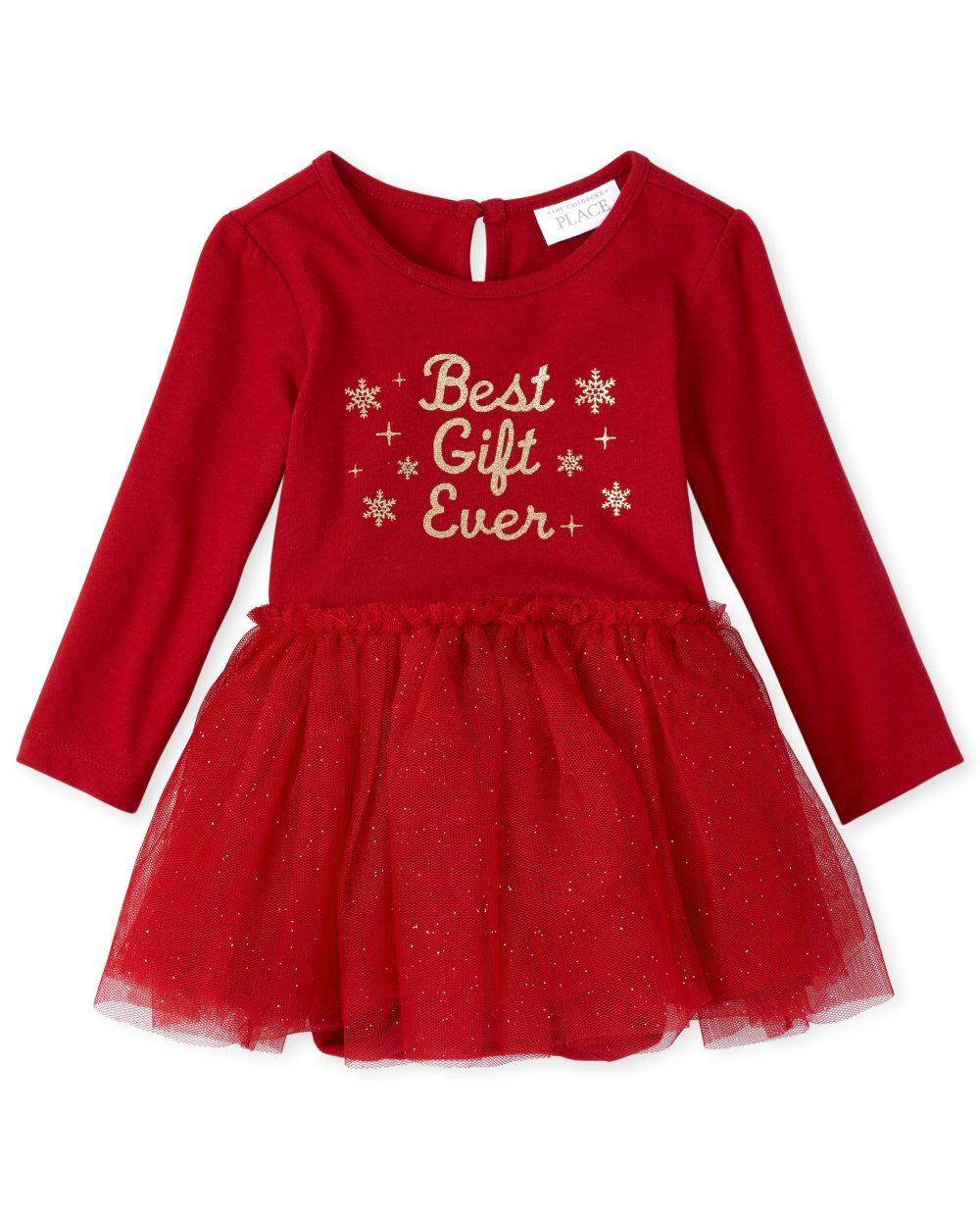 Newborn Baby Glitter Best Gift Knit To Woven Tutu Dress - Red