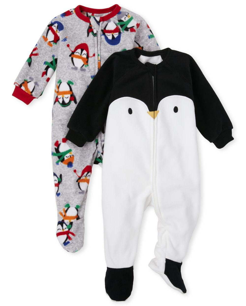 Baby And Toddler Boys Penguin Fleece One Piece Pajamas 2-Pack - White