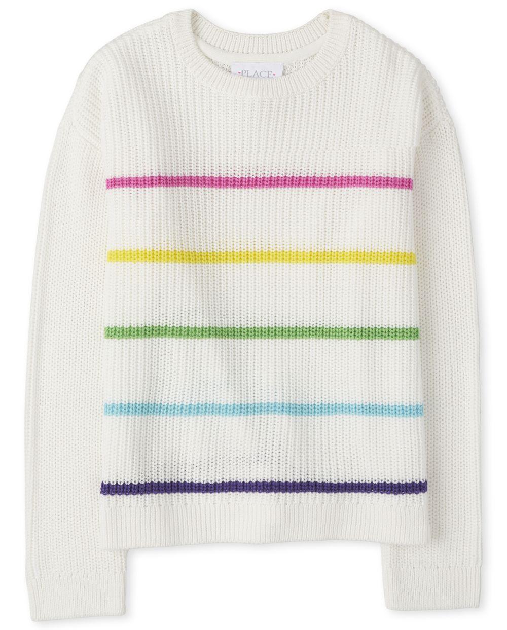 Girls Rainbow Striped Sweaters - White