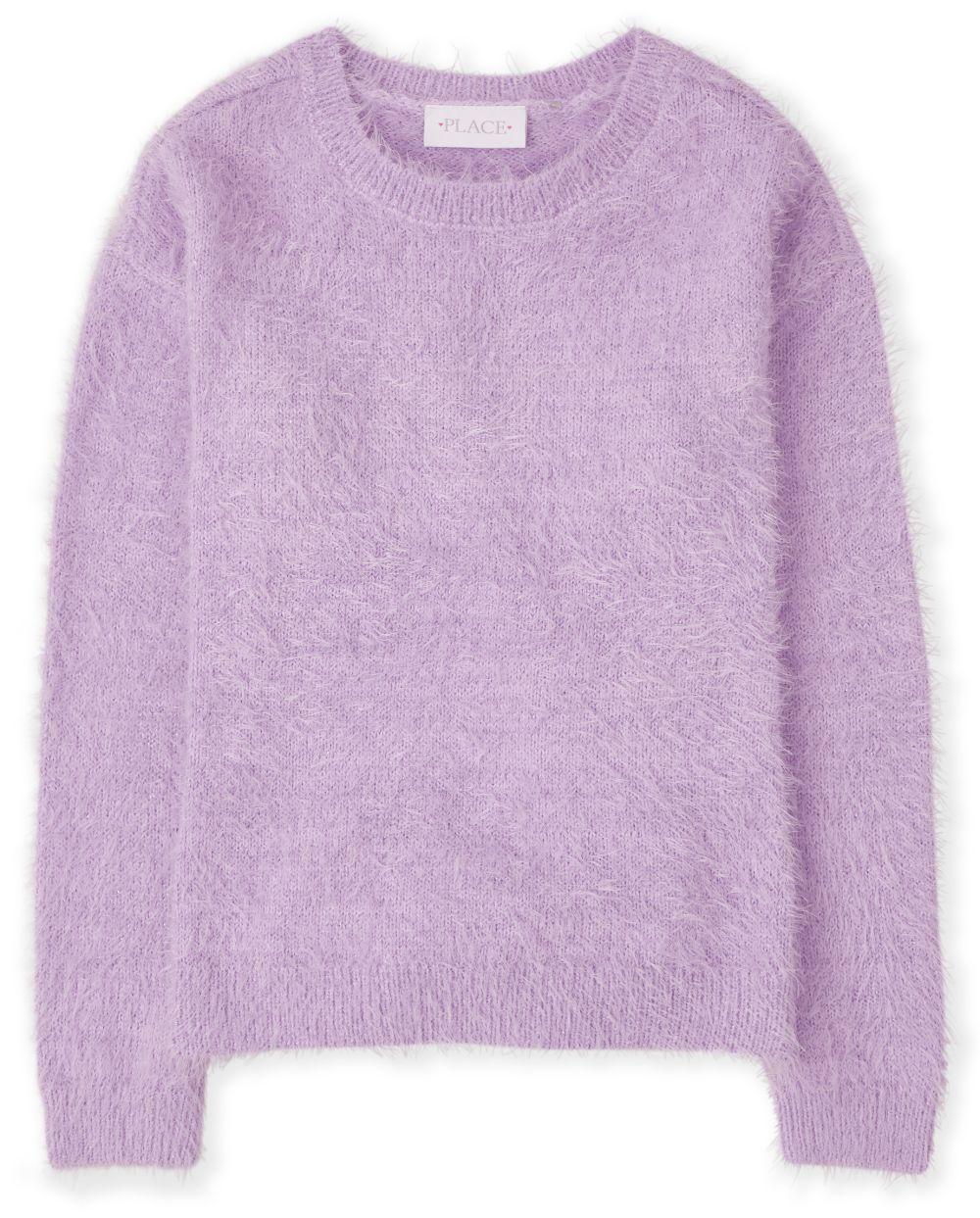 Girls Eyelash Sweater - Purple