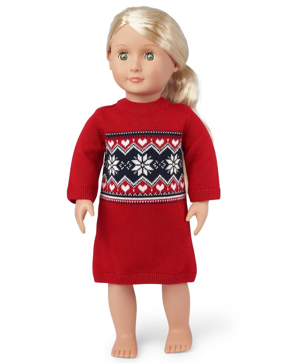 s Doll Snowflake Fairisle Sweater Dress - Red - The Children's Place