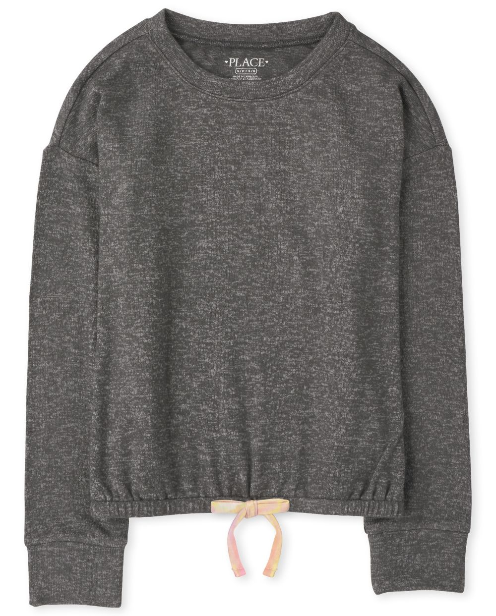 Girls Cozy Lightweight Sweater Tie Front Pullover - Gray