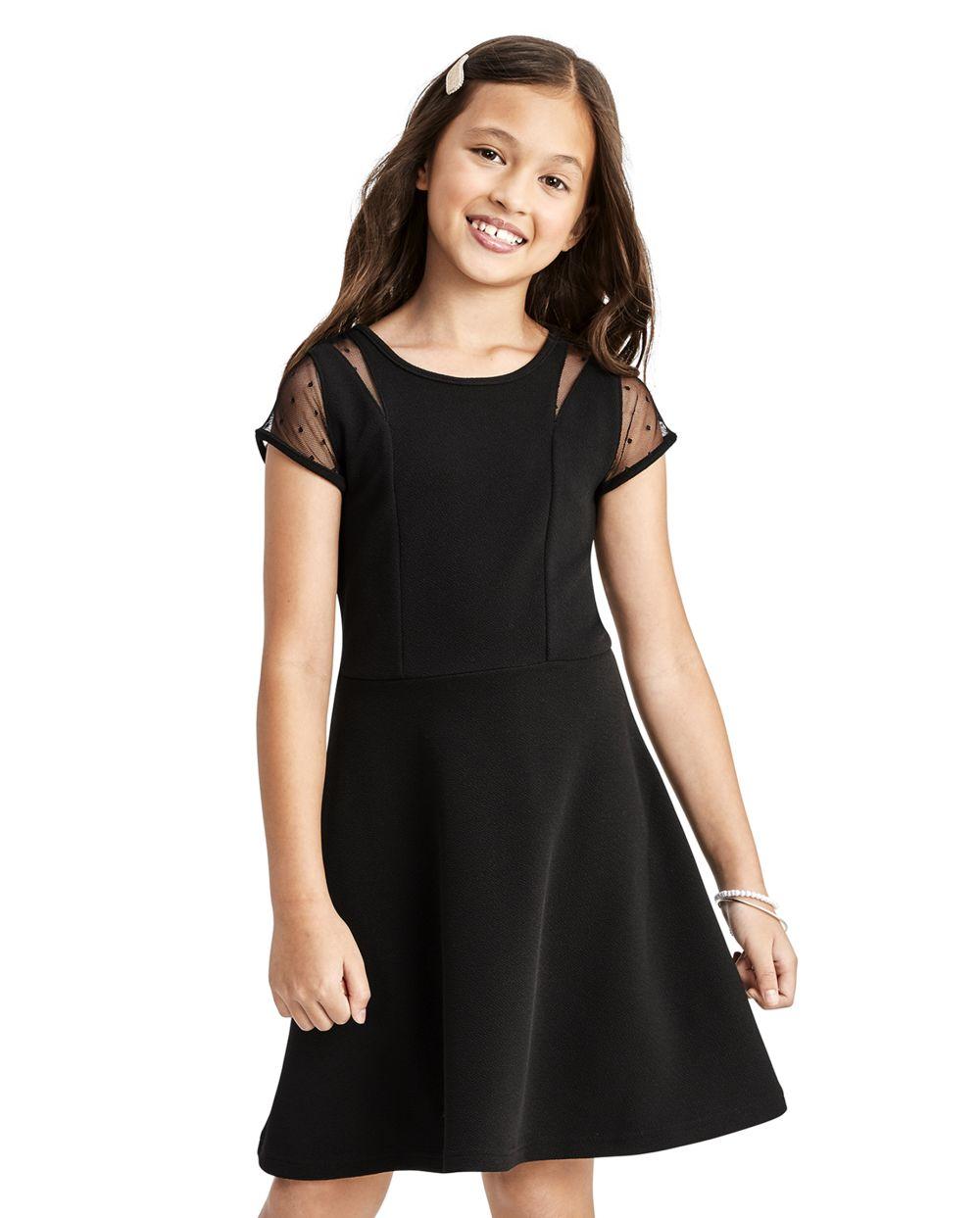 Girls Dots Print Mesh Jacquard Dress