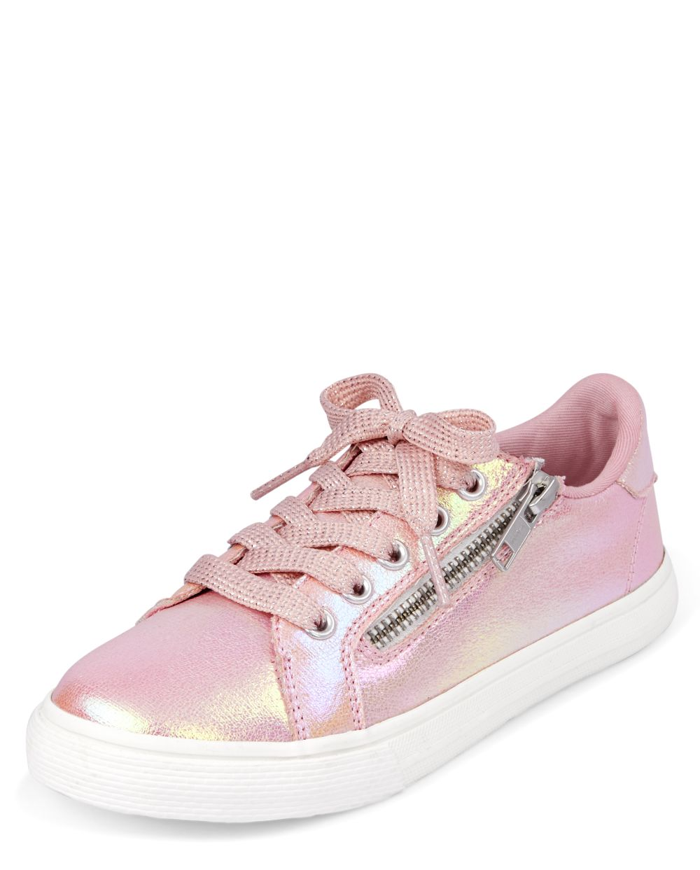 Shimmer Zip Low Top Sneakers - Pink