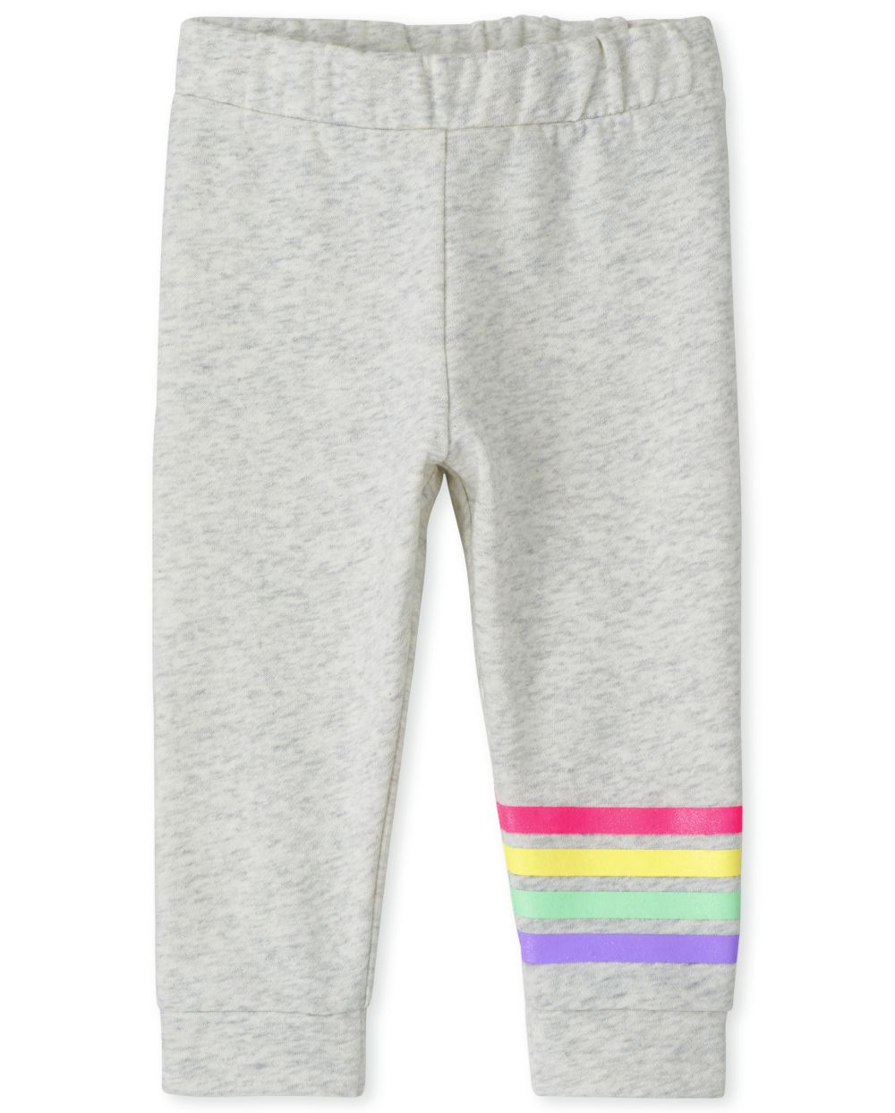 Baby Girls Baby And Toddler Rainbow Fleece Jogger Pants - Gray - The Children's Place
