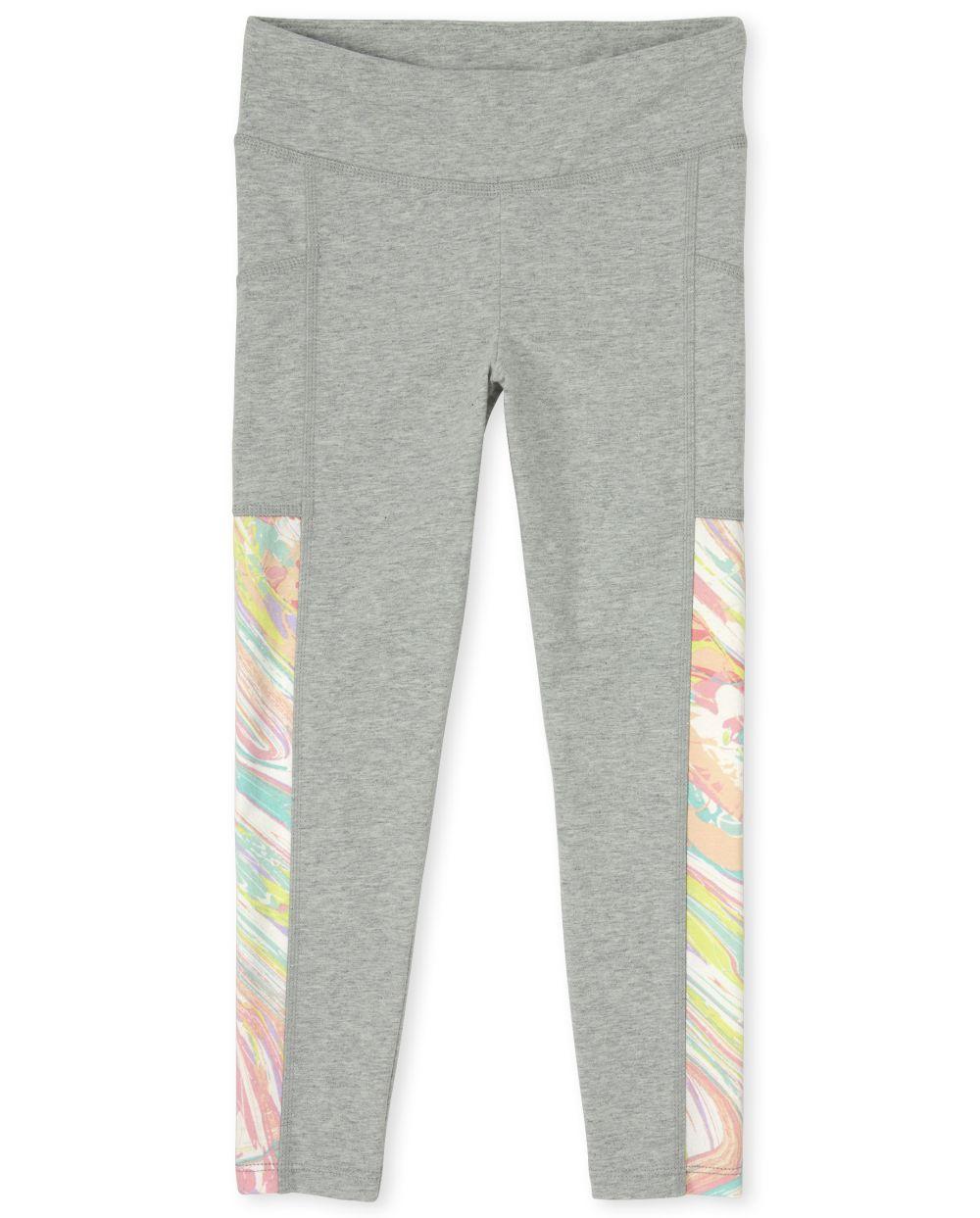 Girls Side Stripe Pocket Hi-Rise Leggings - Gray