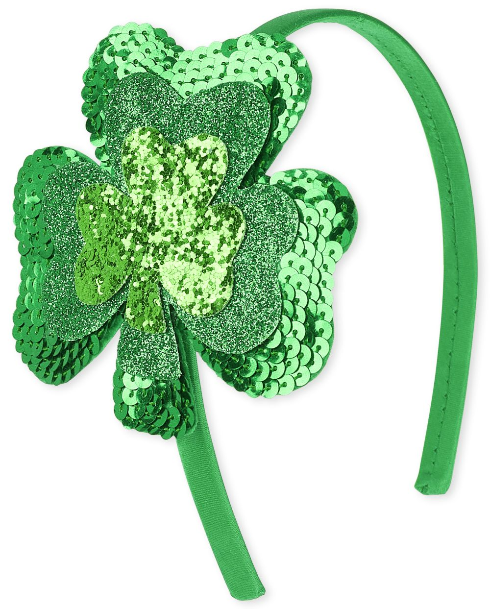Girls St. Patrick's Day Sequin Shamrock Headband - Green - The Children's Place