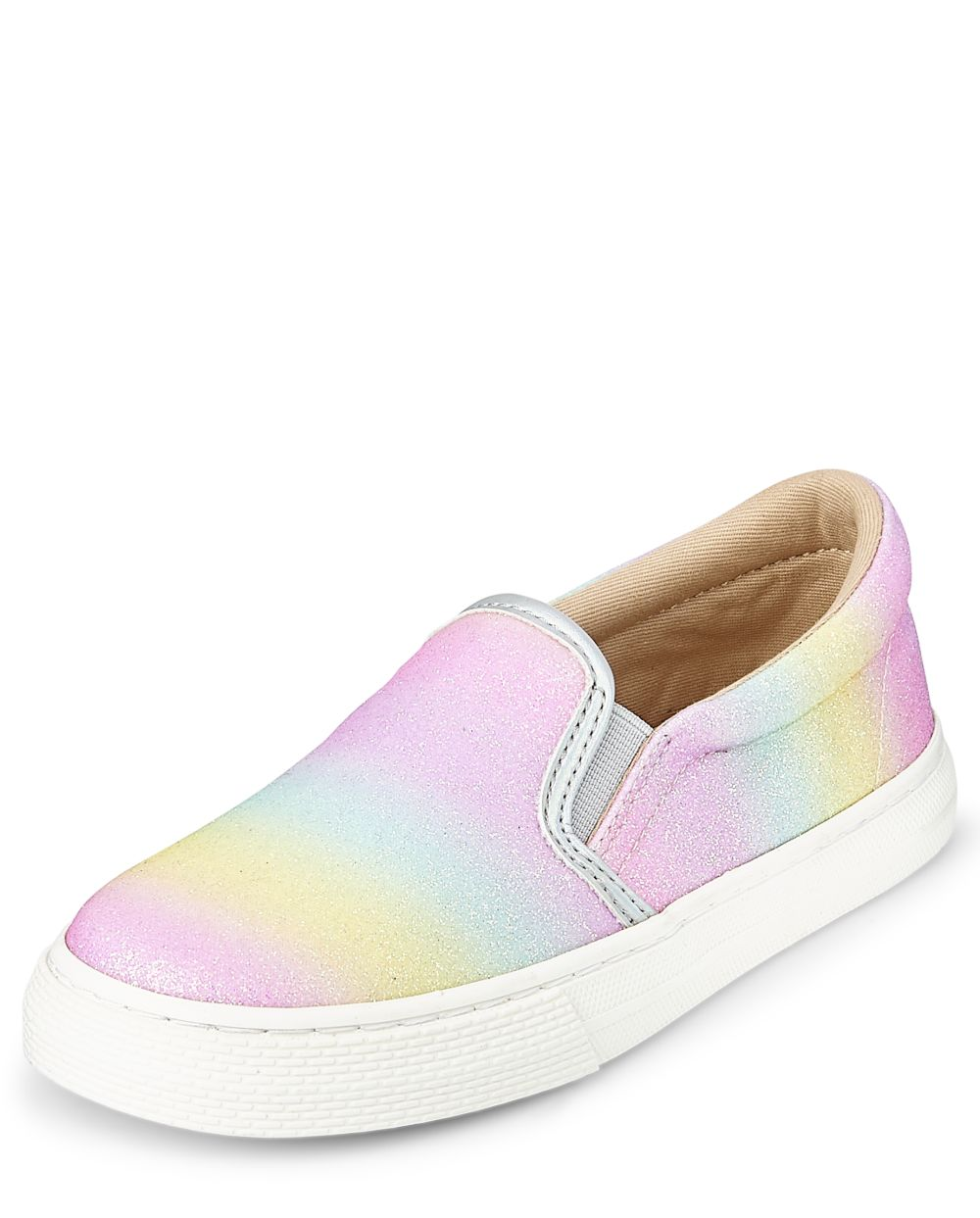 Girls Glitter Rainbow Ombre Slip On Sneakers - Multi