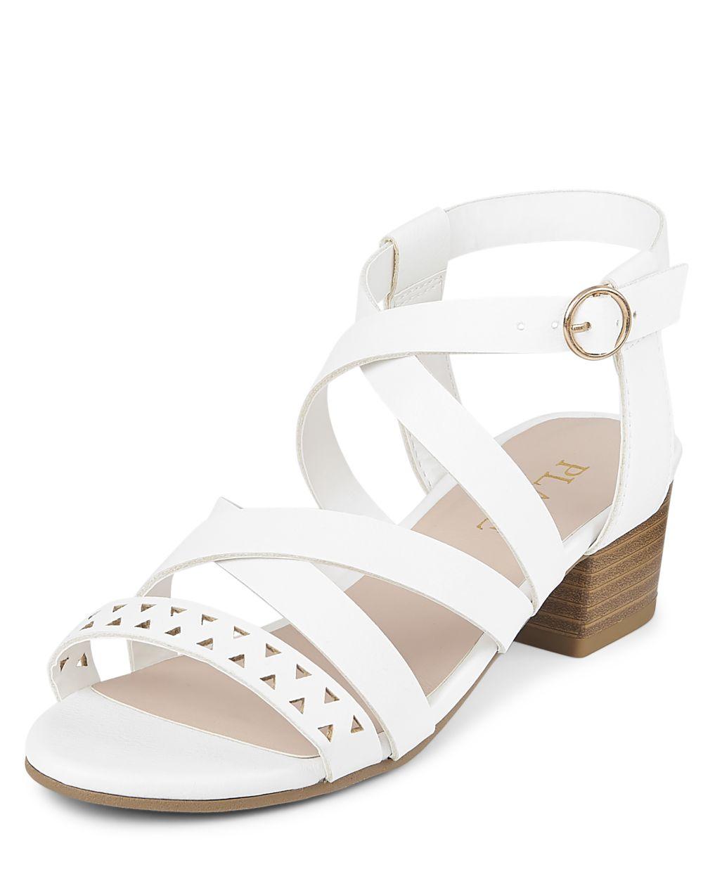 Girls High Heel Sandals - White