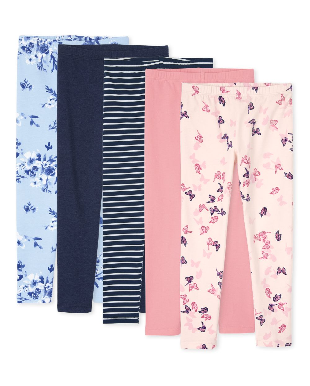 Girls Print Leggings 5-Pack - Blue