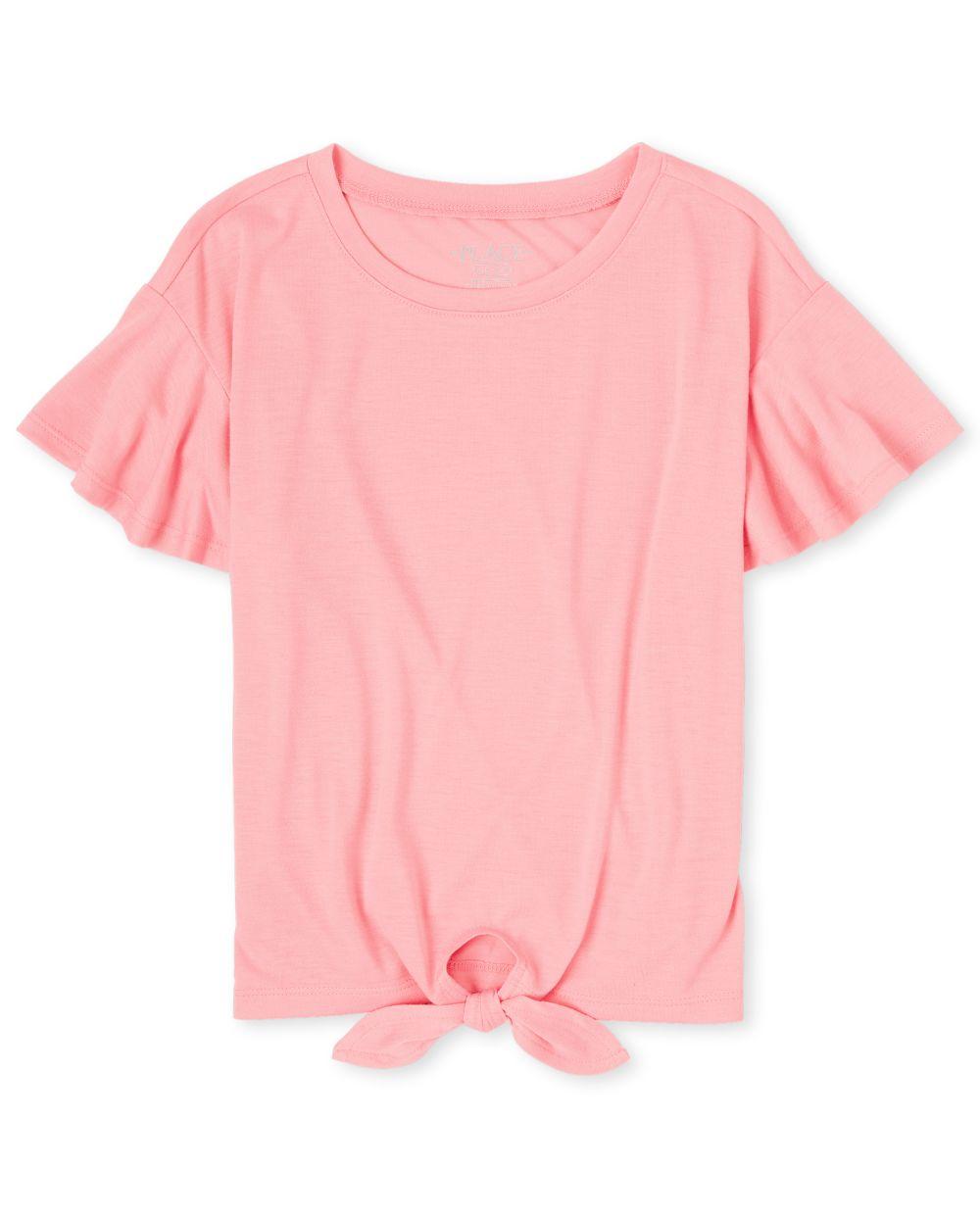Girls Tie Front Top - Pink