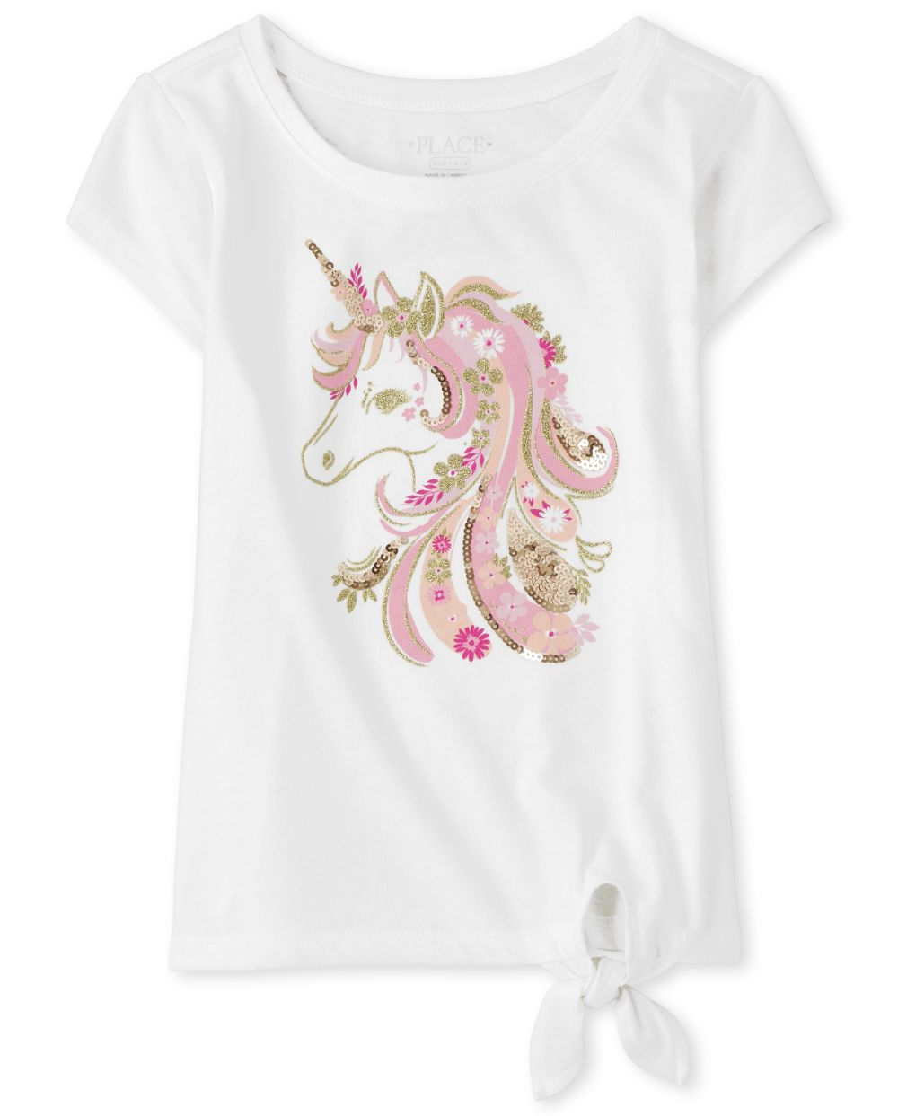 Girls Graphic Tie Front Top - White
